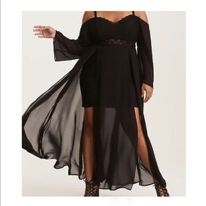 TORRID BLACK LACE & CHIFFON MAXI DRESS